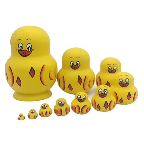 ULTNICE 10PCS russische Nesting Dolls Matroschka Holz gelbe Ente Stapel Puppe Spielzeug