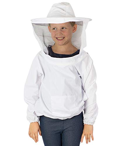 VIVO White Youth Large Sized Beekeeping Suit, Jacket, Pull Over, Smock with Veil (BEE-V105YL)