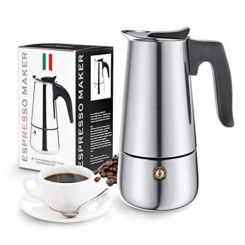 Espressokocher Induktion, Diealles Shine 300 ML Espressokanne 6 Tassen, Kaffeekocher Edelstahl für Coffee