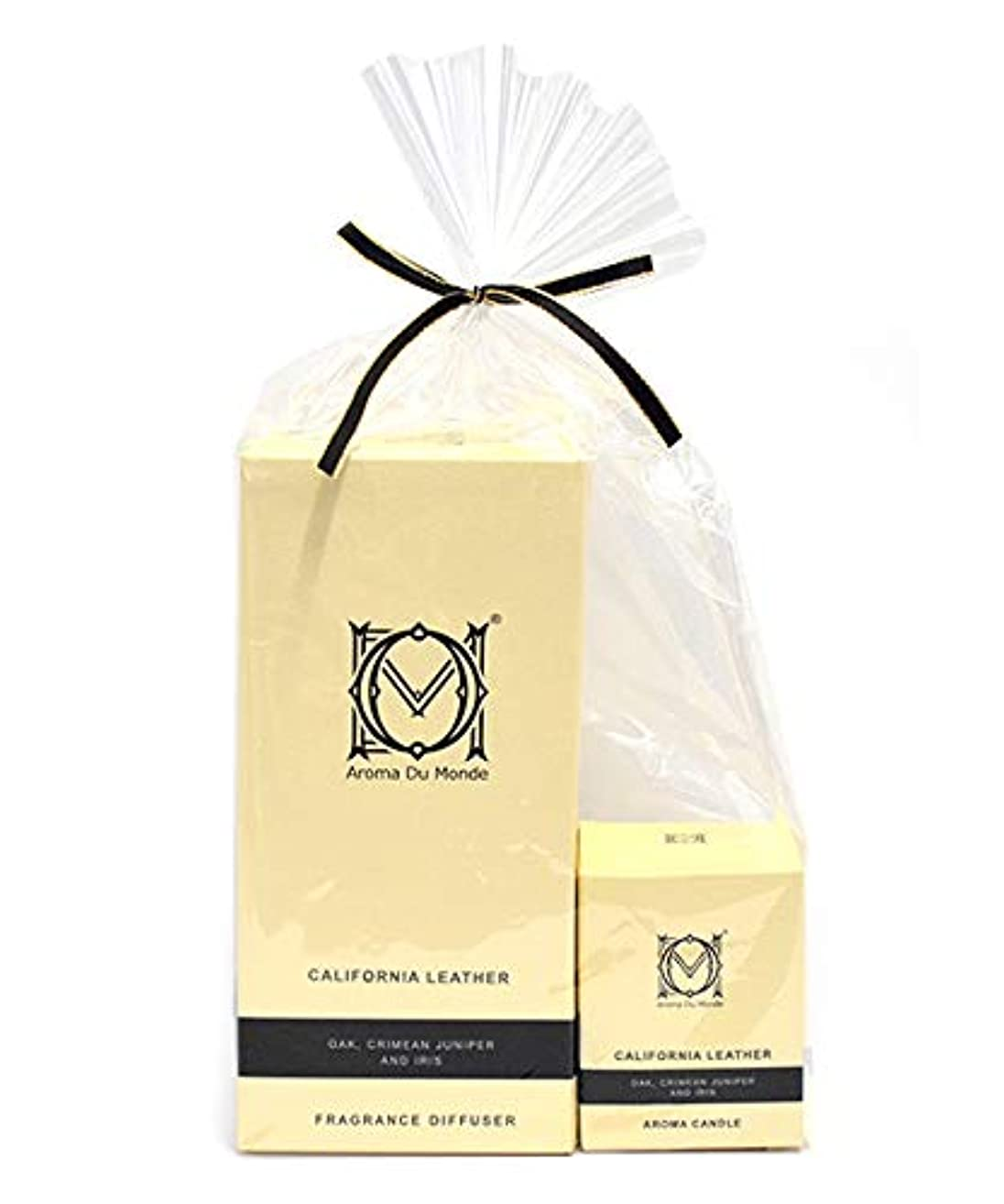 平手打ちノベルティ陰謀フレグランスディフューザー&キャンドル カリフォルニアレザー セット Aroma Du Monde/ADM Fragrance Diffuser & Candle California Leather Set 81159