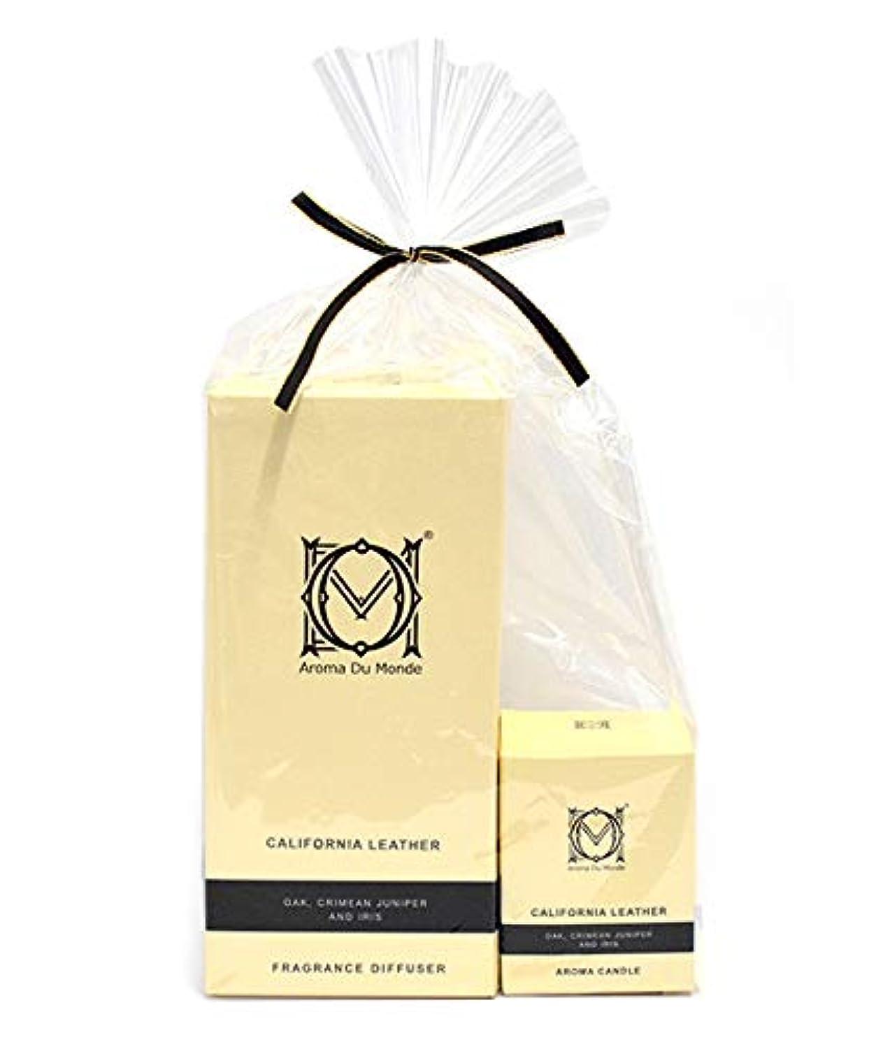 庭園タイトル掻くフレグランスディフューザー&キャンドル カリフォルニアレザー セット Aroma Du Monde/ADM Fragrance Diffuser & Candle California Leather Set 81159