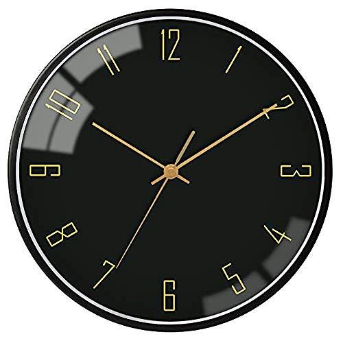 Große Wanduhr Silent Non-Ticking Kreative schwarze Wand nach Hause Metall stumm Küche Uhr nach Hause moderne Schlafzimmer geheime Buchsammlung Geschenk für Küche Wohnzimmer Schlafzimmer Büro Badez