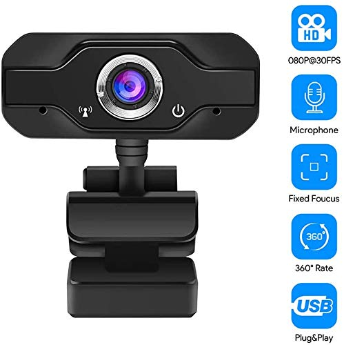 VERNBRIN HD Webcam 1080P PC Webcam USB Desktop & Laptop Webcam Live Streaming Webcam mit Mikrofon Widescreen HD Video Webcam 90 Grad Extended View für Videoanrufe