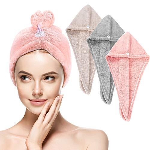 Serviette Cheveux, 3PCS Serviette à Cheveux en Microfibre Wrap Turban Super Absorbant pour Cheveux à Séchage Rapide avec Bouton de Design