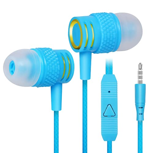 UrbanX R2 Wired in-Ear Headphones with Mic for Lenovo A6010 Plus with Tangle-Free Cord, Noise Isolating Earphones, Deep Bass, in-Ear Bud Silicone Tips