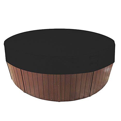 HEWYHAT Runde Whirlpoolabdeckung, wasserdichte, 100% UV- und wetterbeständige runde Spa-Abdeckung mit elastischen und Lufttaschen für eine angenehme Atmosphäre,Schwarz,215×70cm