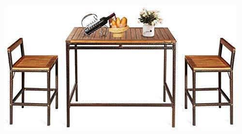 HomyDelight Outdoor Furniture Set, 3 PCS Patio Rattan Wicker Bar Dining Furniture Set