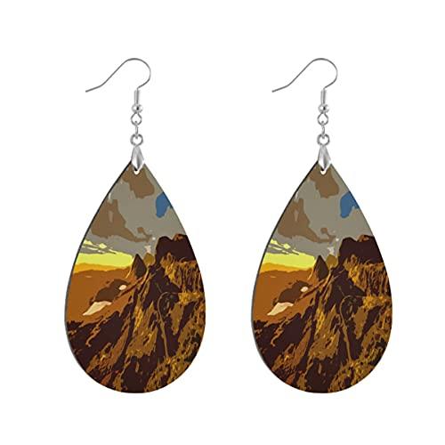 1 par de pendientes de madera con forma de gota de agua de Escocia Monti Montañas Pendientes de madera pintados para mujer, Leaf drop, Madera Cobre Plata,