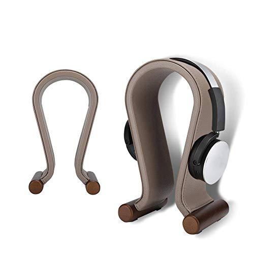 Mugast headset-standaard, bekabeld/draadloze headset-houder van PU-leer met antislip rubberen voetjes voor thuis, op kantoor of op kantoor, donkerbruin