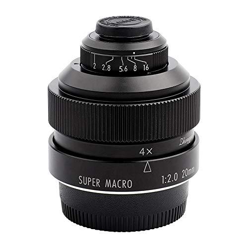 EBTOOLS Obiettivo macro F2 da 20 mm, lega di alluminio Messa a fuoco manuale Lente super macro a grande apertura per corpo macchina reflex Nikon F Mount