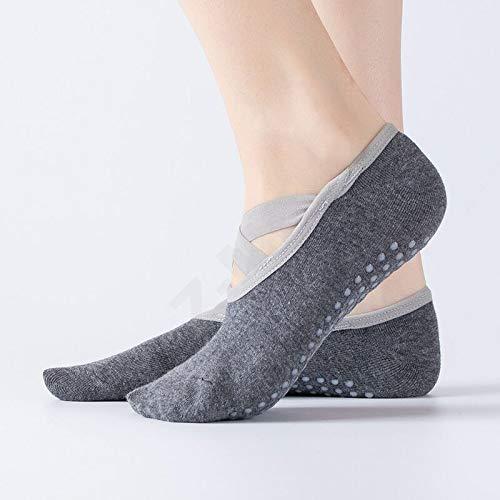 Z-MIN 2 paires de chaussettes de yoga, chaussettes de yoga à dos ouvert enveloppées de ballet, chaussettes de sport antidérapantes professionnelles, gris foncé, taille unique