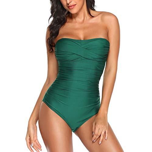Smismivo Tummy Control Swimwear Black Strapless One Piece Swimsuit Ruched Padded Bathing Suits Women Slimming Bandeau Bikini