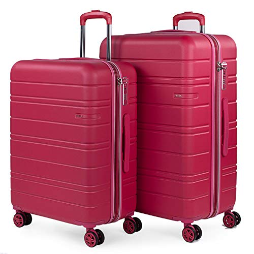 JASLEN - Stijve kofferset met Travel USB 4 wielen Trolley ABS. Uitbreidbaar Comfortabel en licht hard. TSA-slot. Middelgrote en grote maten 171216, Color Aardbei