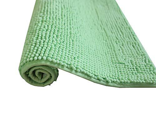 Alfombra de baño de pelos de Microfibra Super Suave Antideslizante Multifuncional Felpa Microfibra Chinille Cómoda Y Súper Absorbente Cocina Mascota (50x70cm, Verde)
