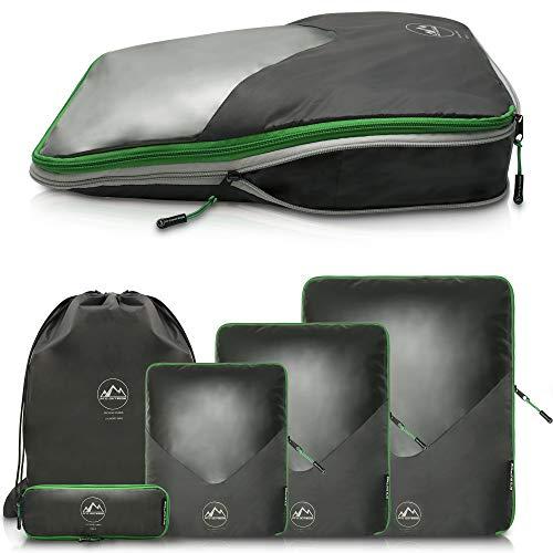 Premium Travel Packing Cubes mit Kompression und Sichtfenster I wasserdichte Packing Cubes Rucksack und Koffer I Packing Cubes Backpack in verschiedenen Größen Grau/Grün (Größe XL)