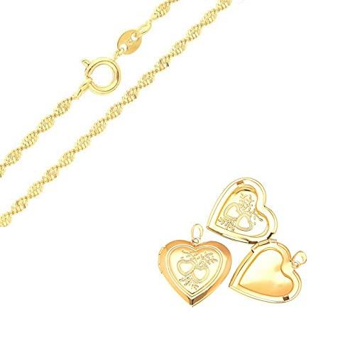Cadena y colgante portafotos en forma de corazón, oro amarillo 750 laminado*