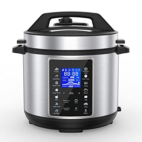 6 Quart Electric Pressure Cooker, 10-In-1 Multifunctional Programmable Electric Cooker, Slow Cooker, Rice Maker, Steamer, Saute Pan, Yogurt Maker, Food Warmer And More With Deluxe Accessory Set