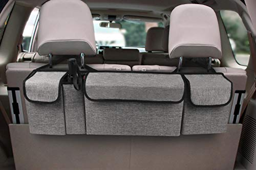 YOUDENOVA Car Backseat trunk Organizer for SUV & Most Vehicles - Hanging Seat Back Foldable Organizer Storage with 4 Large Pockets - Space-saving Free Trunk Space - Grey