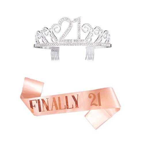Amosfun 21. Geburtstag Tiara Und Schärpe Geburtstag Kristall Strass Tiara Königin Prinzessin Kronen Gold Satin Schärpe für 21. Geburtstag Party Gefälligkeiten