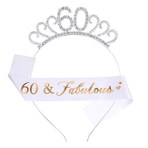 Rubywoo&chili 60. Geburtstag Kostüm Satz, Geburtstag Schärpe mit Kristall Krone, für Frauen Geschenke Zum 60 Geburtstag