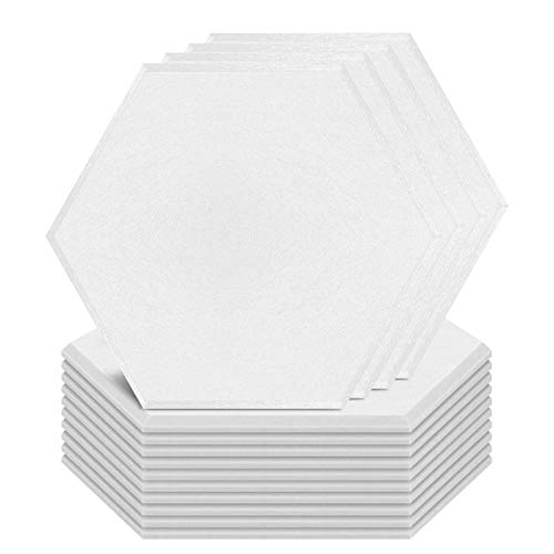 20 Pack Acoustic Panels Hexagon Beveled Edge Sound Proof Foam Panels, 14'X13'X 0.4' Sound Proof Padding for Wall, High Density Acoustic Absorption Panel for Acoustic Treatment&Wall Decoration (White)
