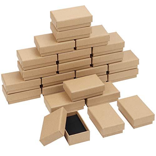 Kurtzy Cajitas Regalo Joyas Papel Kraft Marrón (Pack de 24) 8 x 5 x 3 cm – Caja Mate con Insertos de Espuma - Cajas de Joyería Pulsera, Pendientes, Collares y Anillos - Cajas Pequeñas Regalo