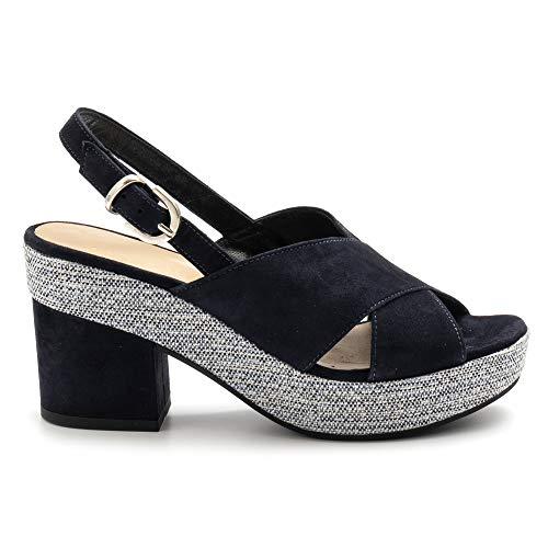 EXTREME blauwe suède sandalen met hak - 2663 chamoisblauw - maat