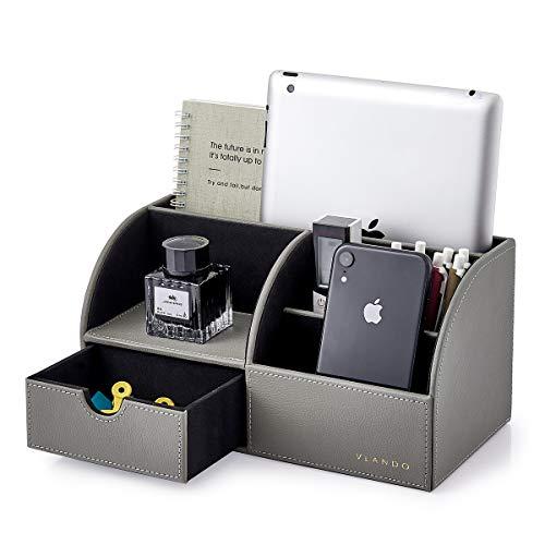 Vlando Organizador de escritorio de piel con cajón, organizador de escritorio multifuncional para bolígrafos, soporte para mando a distancia