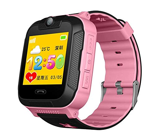 Smart watch Phone for Kids -GPS Tracker,with 1.4 Inch Touch Colorful Display Camera Alarm Clock SOS Remote Alarm Pedometer,The Best for Kids (Color : Pink)