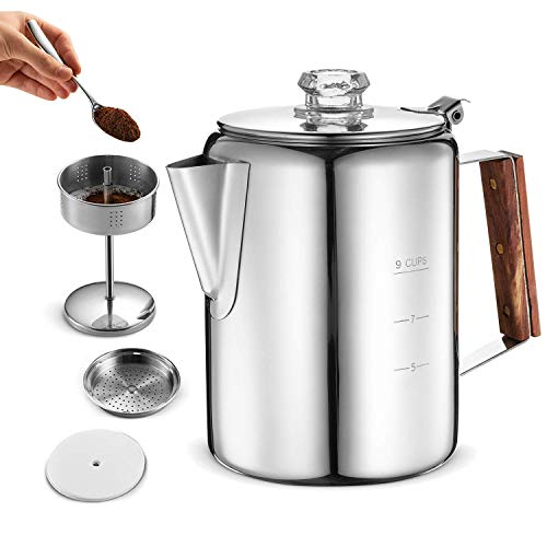 Eurolux Percolator Coffee Maker Pot - 9 Cups | Durable Stainless Steel...