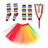 BESTOYARD Rainbow Tutu Rock Kit Bunte Bowknot Krawatte Lange Handschuhe Strumpf Hosenträger...