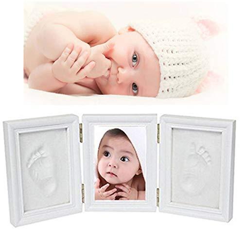 Premium Baby Handabdruck und Fußabdruck Set, Bilderrahmen dreiteilig mit Gipsabdruck und Foto für Baby Fußabdruck oder Handabdruck, weiß