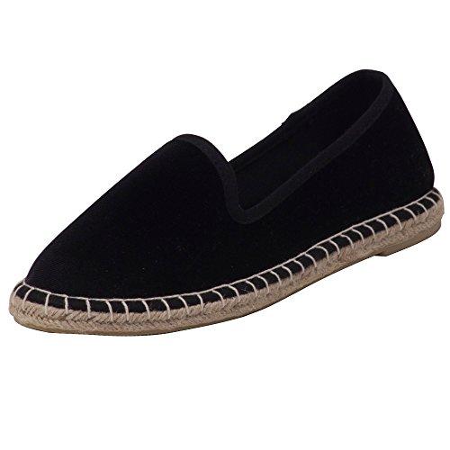 Japanwelt Espadrilles Samtschuhe Damen Pantoffeln - Samt Slipper Sommerschuhe Schwarz Beige Größe 42