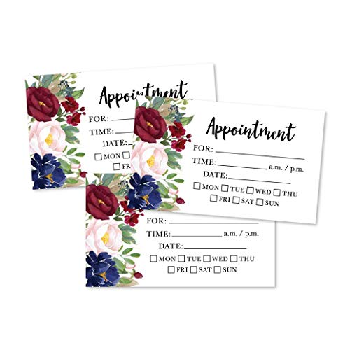 50 Floral Rustic Chalkboard Appointment Reminder Cards, Next Apt. With Medical Doctor, Dental, Salon, Therapy, Dog Grooming, Cleaning Business, Custom Personalized Blank Recall Service Reminder Note