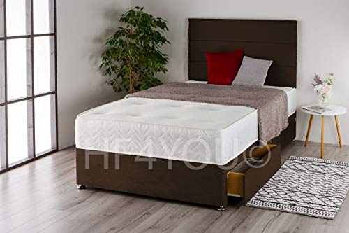 Home Furnishings UK Suede 3 Panel Divan Bed Set with a Memory Sprung Mattress and Matching Headboard (2 Drawers) (4FT Small Double, Brown)
