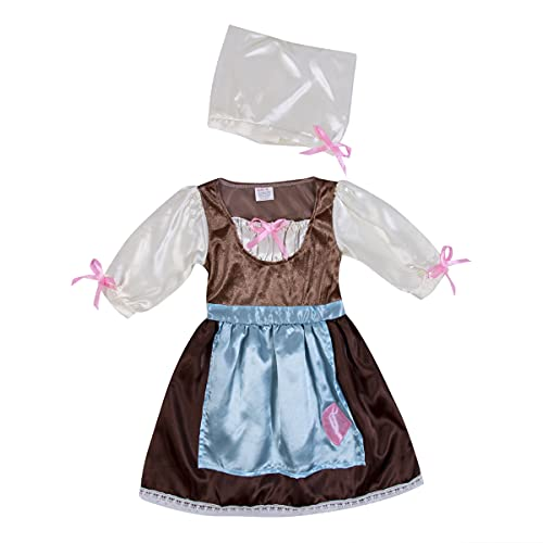 Cinderella Day Dress with Hat, Princess Dress Up Costume, Medium Sleeve Bow Maid Dress, Bow Beanie Hat for Little Girls (Gray, X-Large)