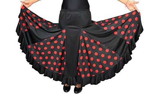 Falda de flamenco para mujer, color negro con lunares rojos, tallas: S/M/L/XL/XXL, medium
