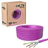 hb-digital 50m Cable de red CAT.7A Cable de instalación LAN AWG 23 Cobre puro S/FTP PiMF LSZH Ethernet libre de halógenos que cumple con RoHS Cable de datos PoE 10Gbit/s máx. 1200MHz Púrpura