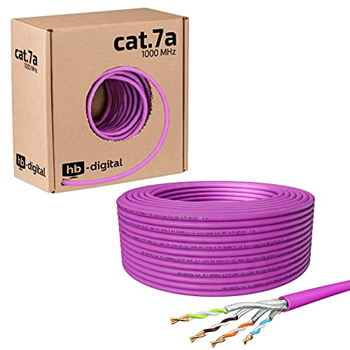 HB-DIGITAL 50m Cable de red cat.7A Cable de instalación LAN AWG 23/1...