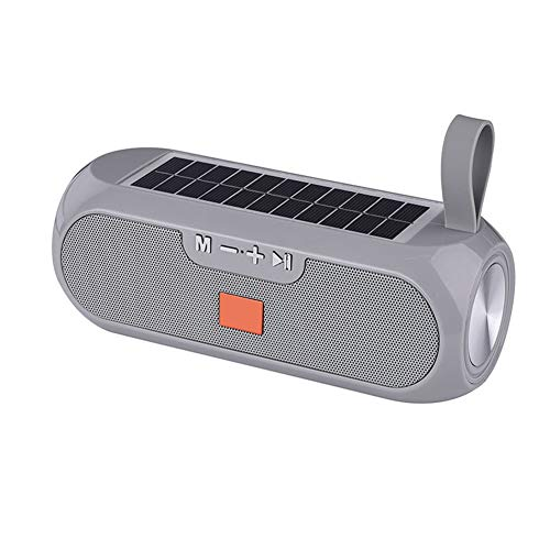 Enceinte Bluetooth Solaire, Colonne Portable, True Wireless 3D Stereo Music Surround Solar Power Bank Haut-Parleur Extérieur Étanche,Gris