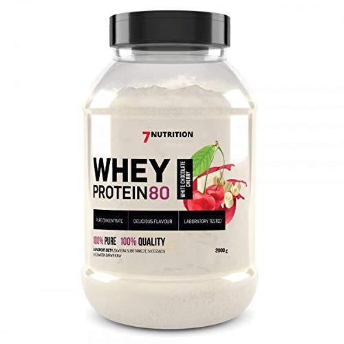 7Nutrition Whey Protein 80 Paquete de 1 Polvo de proteína de suero Construcción de proteínas en polvo Polvo Concentrado de proteína de suero (Vanilla, 2000g)