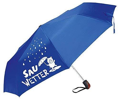 Gilde Regenschirm/Taschenschirm mit lustigem Spruch zum Wetter - 3 Farben und 6 Sprüche zur Auswahl (Sauwetter blau)