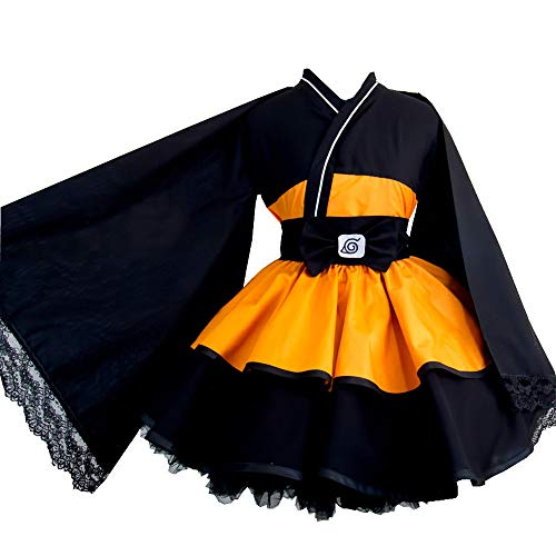 Anime Naruto Costume Naruto Uzumaki Cosplay Lolita Dress Women Kimono Girl kids Maid Dress Halloween Uniforms (L, adult)