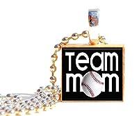 野球チームMom Scrabbleタイルペンダントネックレスまたはkey-chain Great Thank Youギフトチームシーズンパーティー