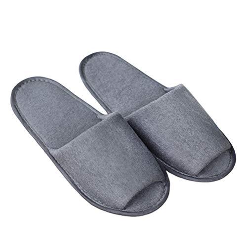 XdiseD9Xsmao 1 Paio Di Pantofole Per Asciugamano Durevole Portatile Unisex Da Viaggio Hotel SPA Pantofole Da Casa Calde All'aperto Usa E Getta Per La Casa Grigio