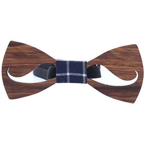 Ukerdo Hueco Madeira Corbata de Moño Bigote Madera Pajarita Aniversario Cumpleaños Regalo (A)