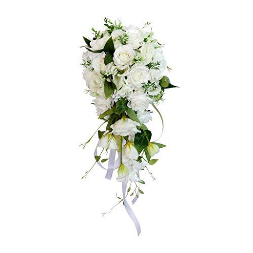 LOVIVER Künstliche Blumen Hochzeitsstrauß mit Wasserfall Design
