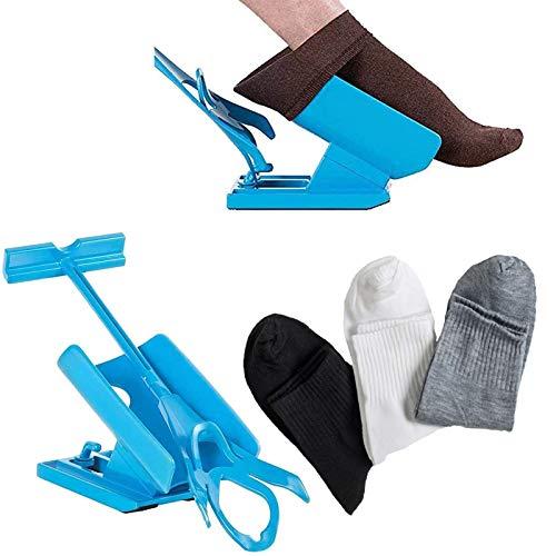 Dkina Strumpfanzieher Socken Anziehhilfe,Sock Slider Sockenhilfe Aid Helper Socken Anziehhilfe und Ausziehhilfe mit 3 Paar Socken,Strumpfanziehhilfe easy on/off Socke Anziehen und Ausziehen Werkzeuge