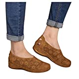ZYAPCNGN Sandals for Women Summer Women Slip-On Open Toe Flat Hollow Out Breathable Single Shoes Wedge Sandals Brown