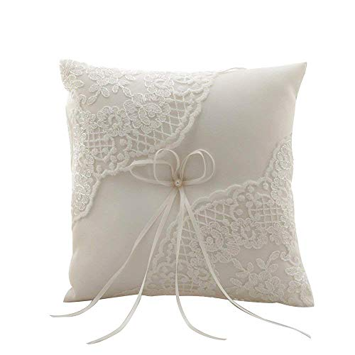 Amajoy Satin and Lace Wedding Ring Pillow Cushion Embroider Flower with Bow , 8 Inch (21cmx 21cm) Ring Bearer for Beach Wedding, Wedding Ceremony